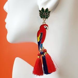 Parrot Bird Earrings. Tassel Stud Earrings Exotic